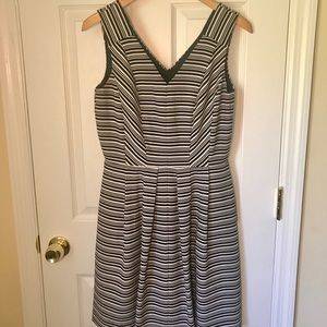 Taylor Black and White Striped Fit and Flare Dress